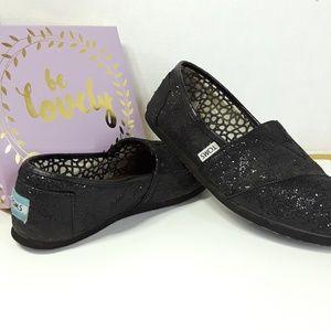 Tom's Slip On Shoe. Black Sparkle 7.5